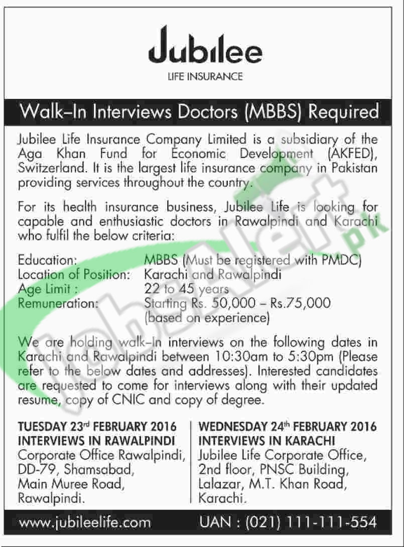 career opportunities in jubliee life insurance 2016 for doctors type in google search situations vacant in jubilee life insurance 2016 fort doctors in karaci and rawalpindi