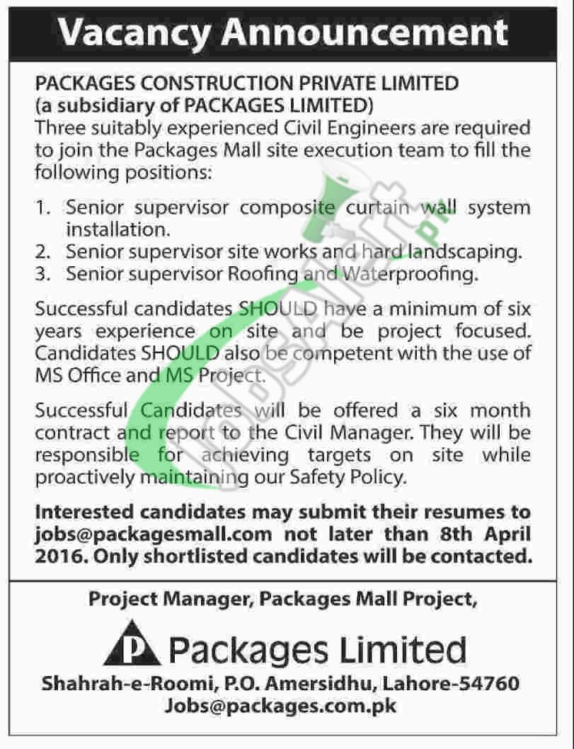 packages limited lahore jobs mar apr for civil engineer packages limited jobs