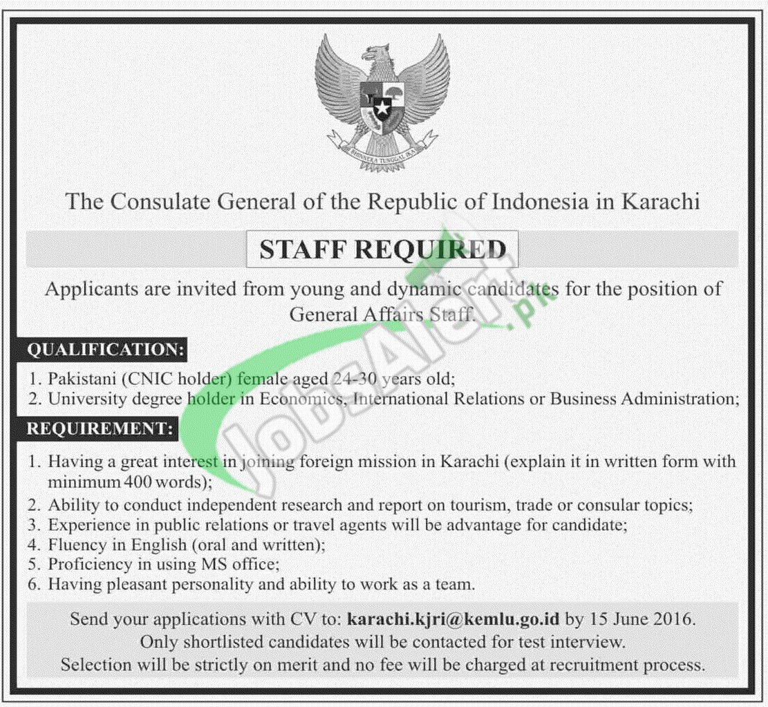 General affairs staff jobs in consulate general of the for Consulate jobs