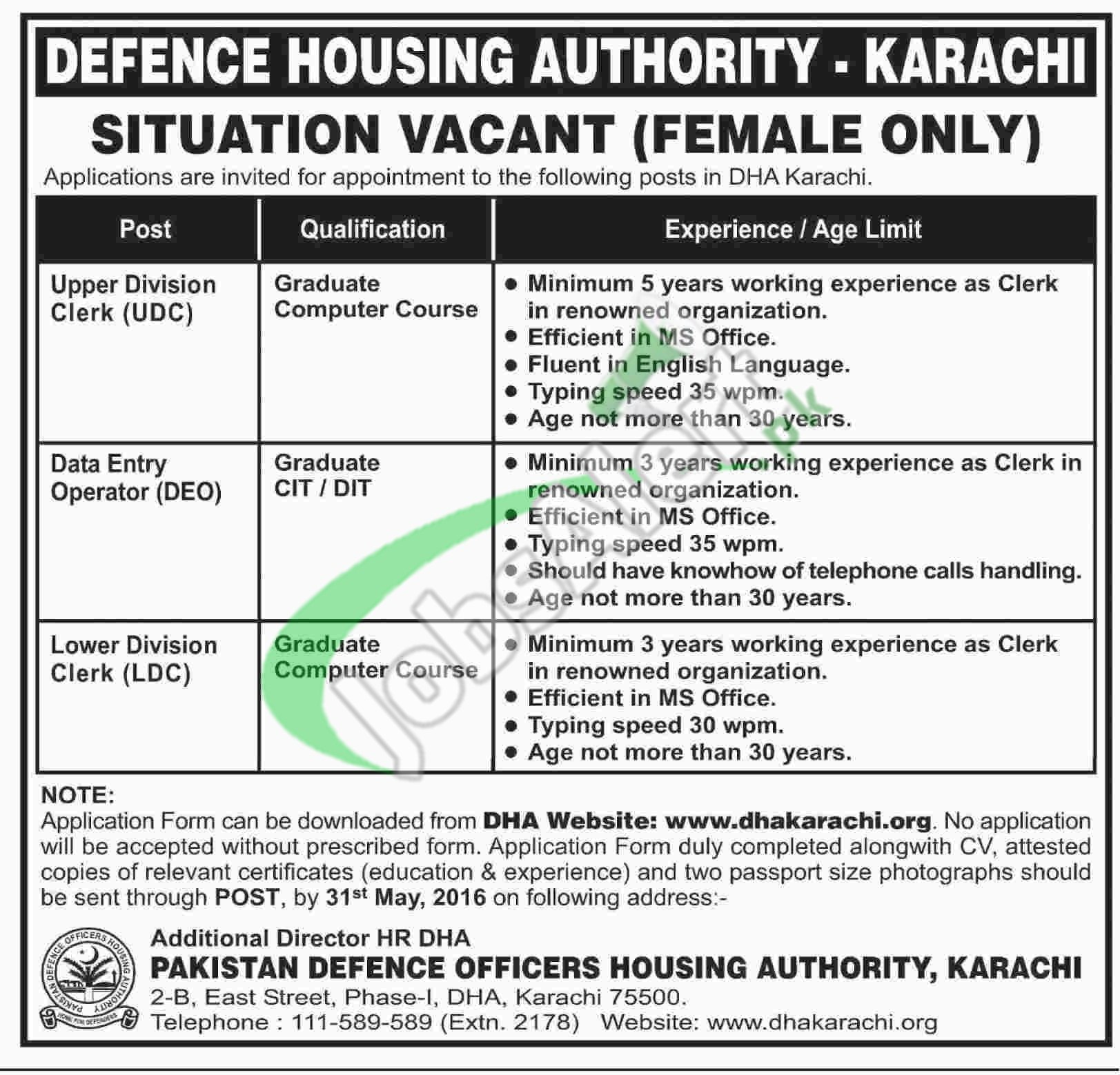 dhakarachi org jobs application form 2016 defence housing click here