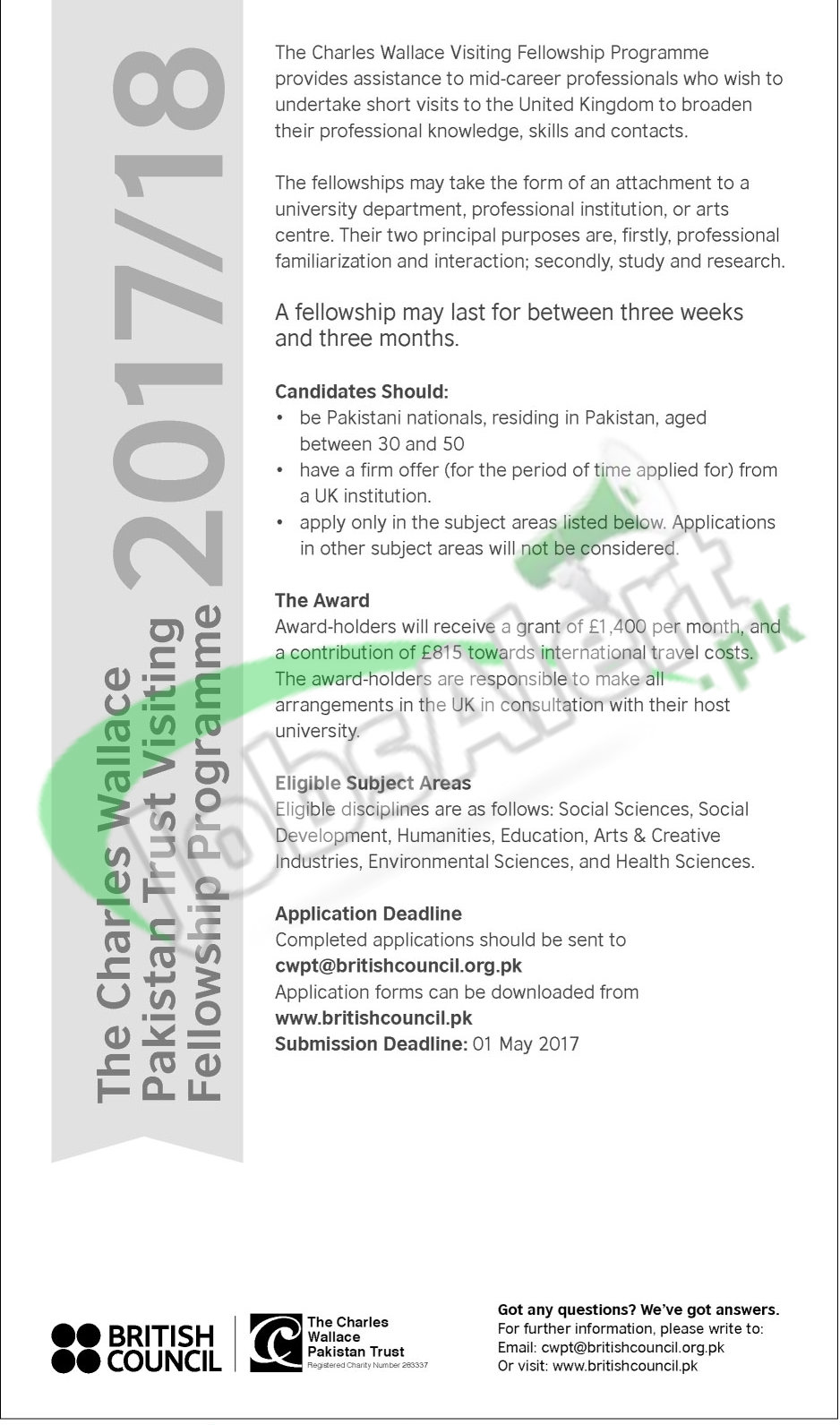 Charles Wallace Pakistan Trust Scholarships