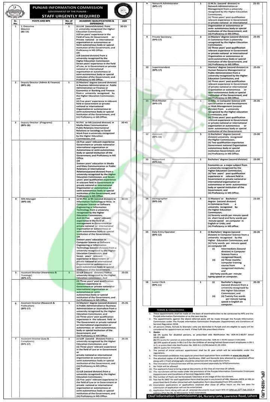 Punjab Information Commission Jobs 2019