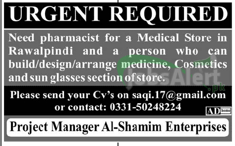 Job For Medical Store and Pharmacist Urgently in Rawalpindi