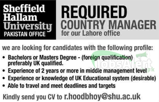 Jobs Opportunity in Sheffield Hallam University for Country Manager