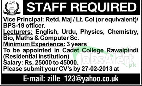 Jobs in Cadet College Rawalpindi for Vice Principal & Lecturer