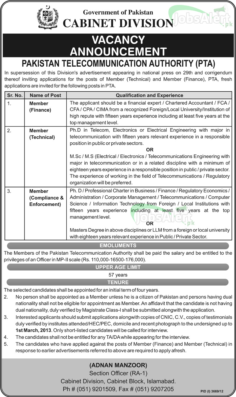 Jobs in Govt of Pakistan Cabinet Division Islamabad for Member Finance