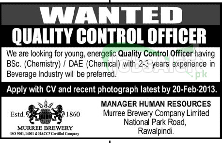 Jobs in Murree Brewery Company Limited Rawalpindi for Quality Control Officer