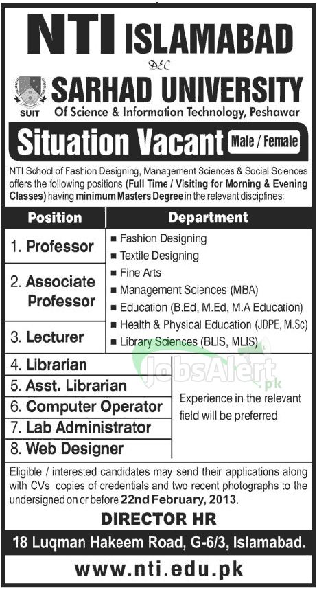 Jobs in National Textile Institute for Professor, Lecturer in Islamabad