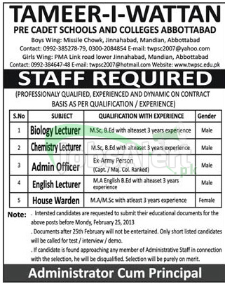 Jobs in Tameer-I-Wattan for Lecturers, Admin Officer Abbottabad