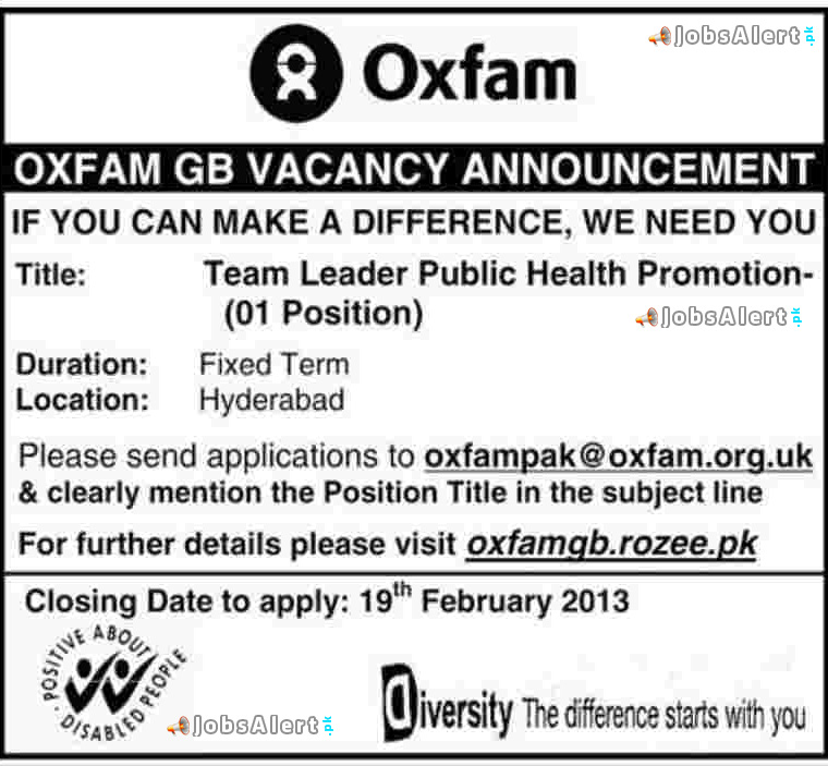 Oxfam GB Job Opportunities For Team Lead Hyderabad