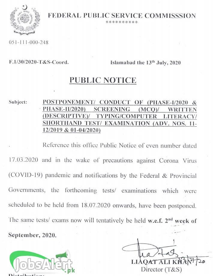 FPSC Exams Postponed
