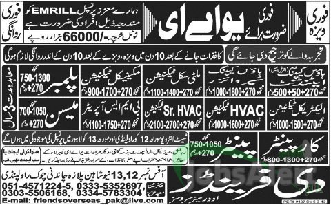 Jobs In UAE for Painter, Carpainter, Plumber & Technecian