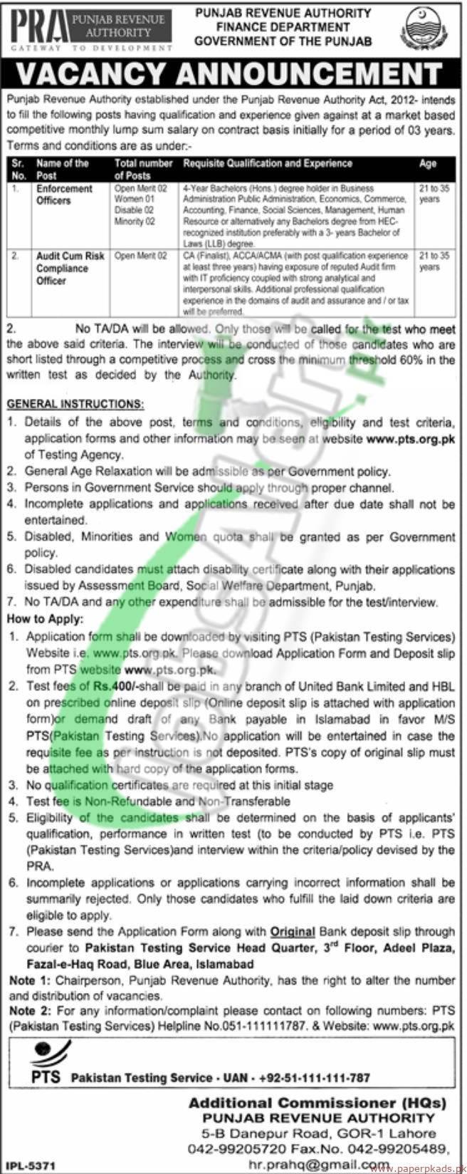 Punjab Revenue Authority Jobs