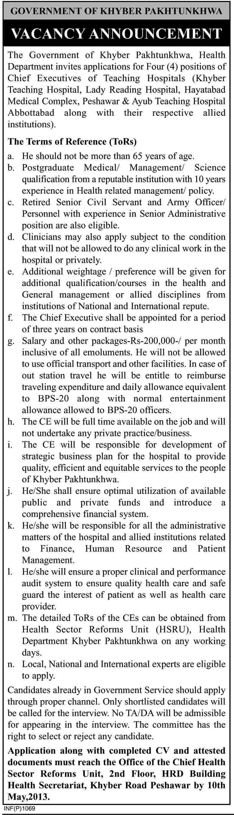 Jobs for Cheif Executives of Teaching Hospital in Govt. of KPK