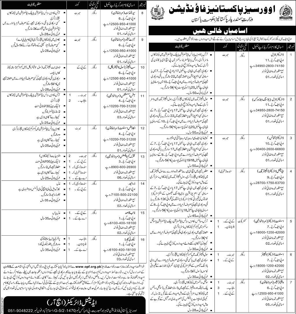 Jobs for Directors, Engineers & Assistant in Overseas Pakistanis Foundation