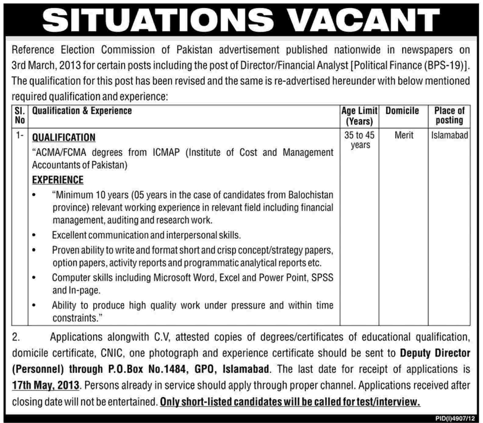 Jobs for Finance Required In Islamabad
