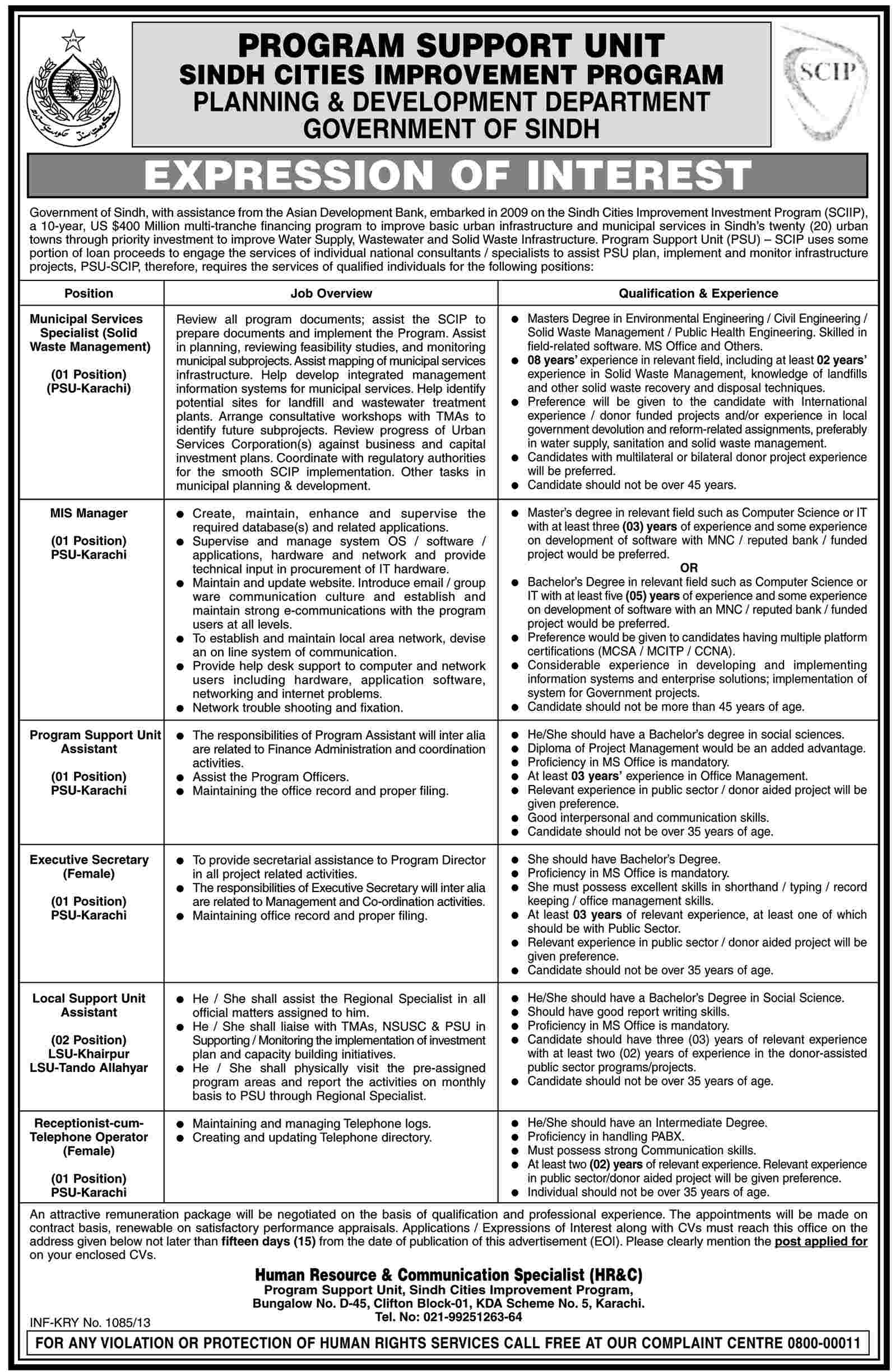 Jobs for Manager, Specialists Required in Govt. Of Sindh
