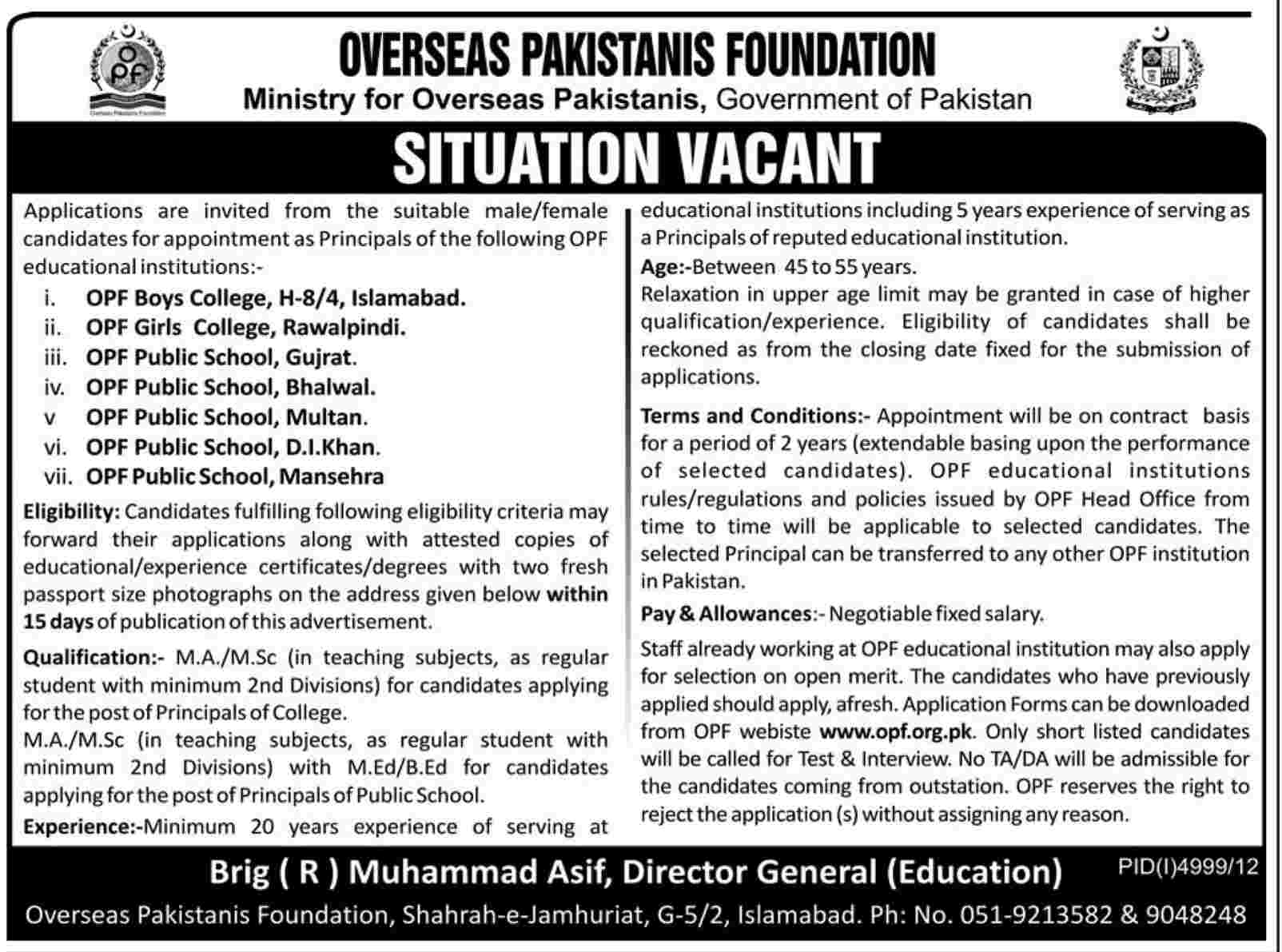 Jobs for Principals Required in Overseas Pakistan Foundation