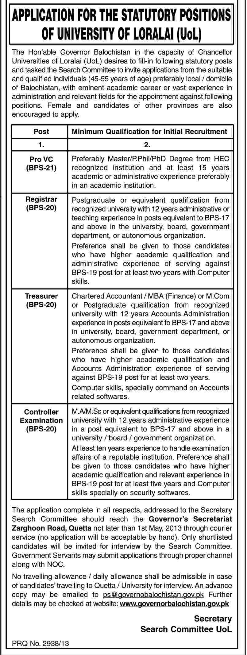 Jobs for Pro V.C, Controller & Registrar in University of Loralai (UOL)