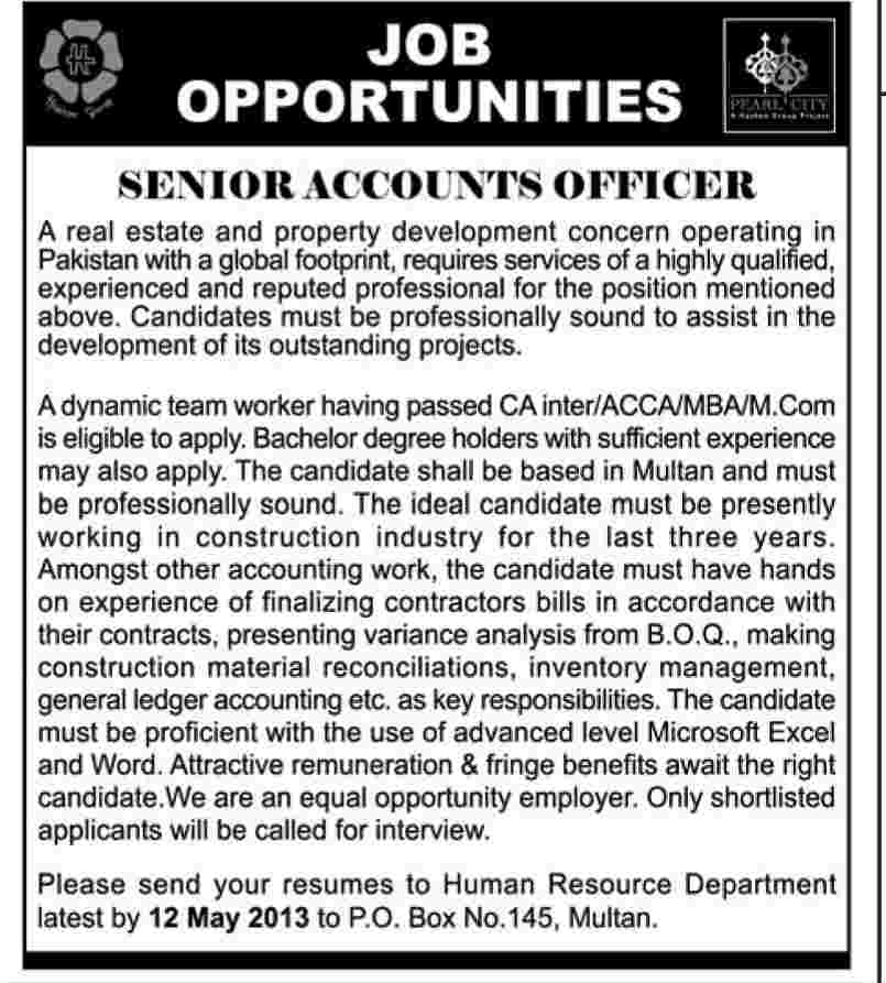 Jobs for Senior Accounts Officer Required in A Real Estate Multan