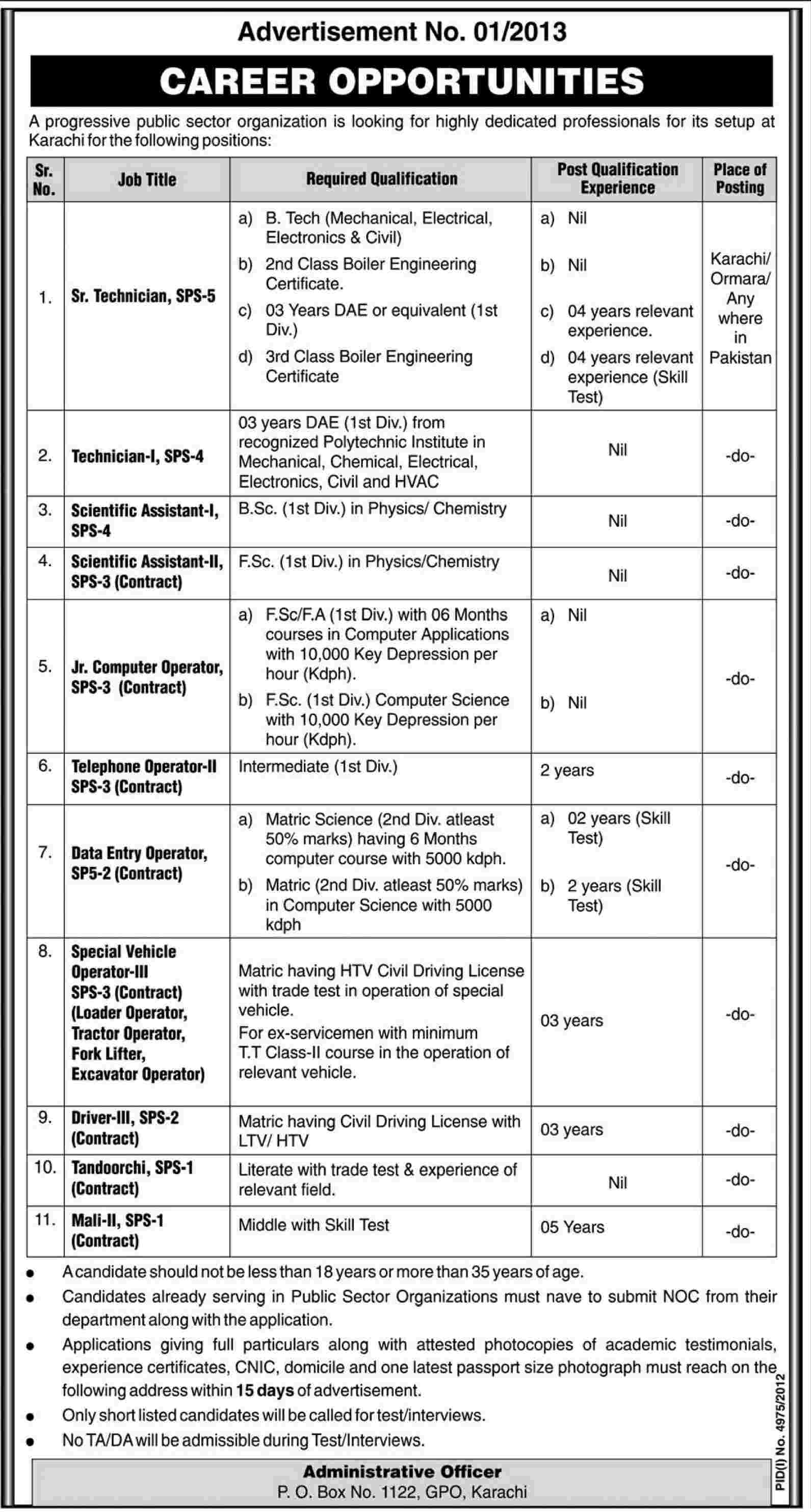 Jobs for Technicians & Assistant in Public Sector Organization Karachi