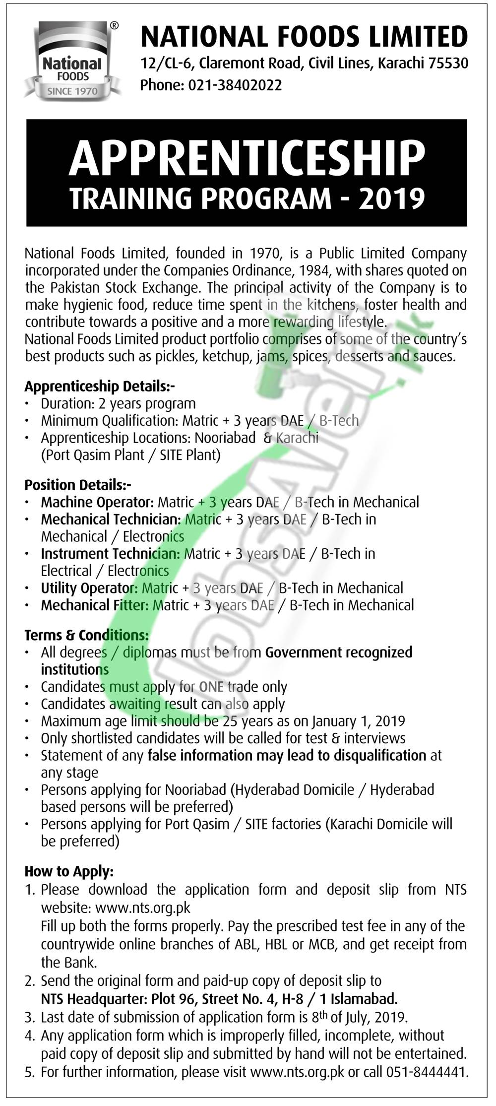 National Food Limited Apprenticeship
