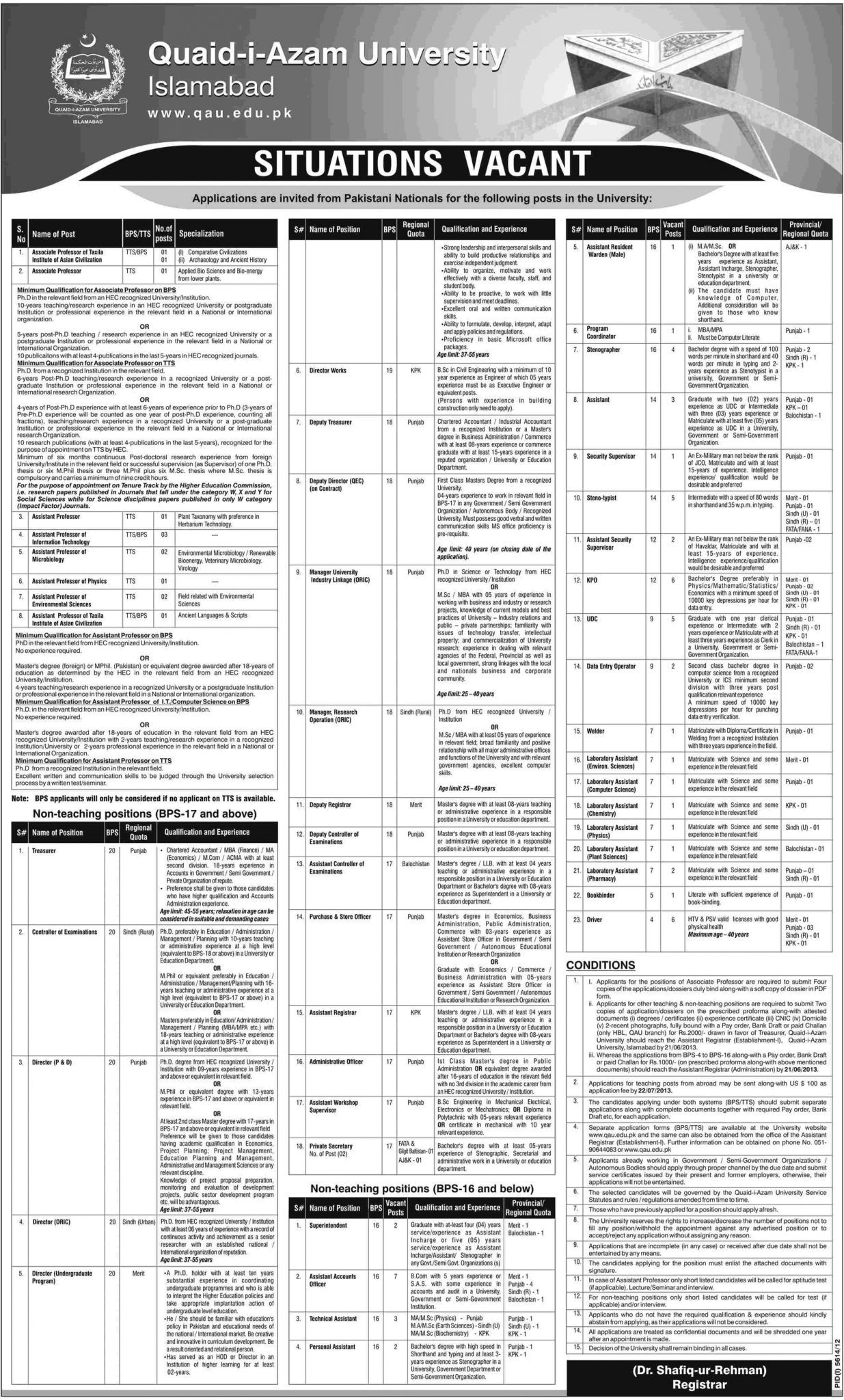 Directors & Supervisors Jobs in Quaid-e-Azam University Islamabad