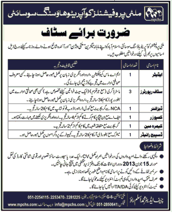 Editor & Reporter Required in Multi Professionals Cooperative housing Society