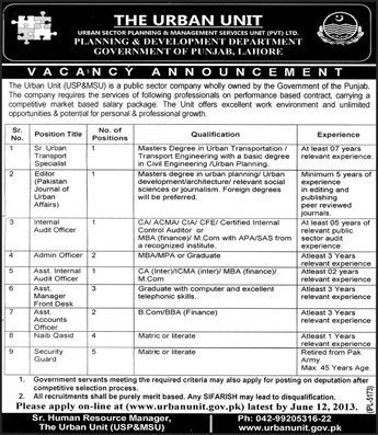 Editors, Auditor & Accountant Required in The Urban Unit Lahore