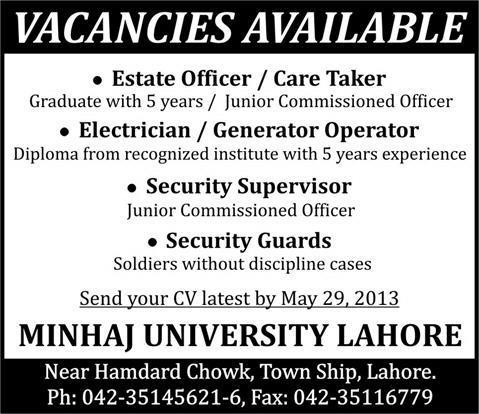 Estate Officer & Electrician Jobs Needed in Minhaj University Lahore