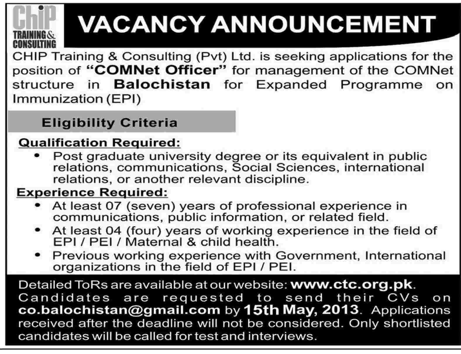 Jobs for COMNet Officer Required in Chip Training & Consulting