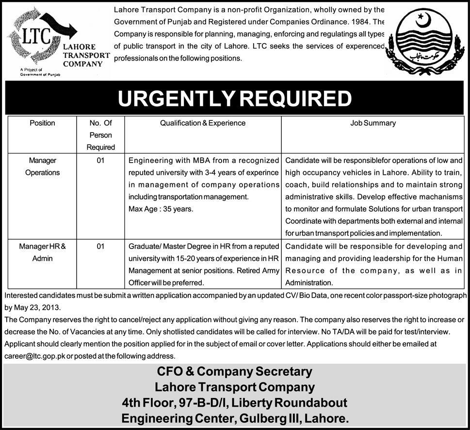 Jobs for Manager Operations, HR & Admin Urgently Needed in Lahore