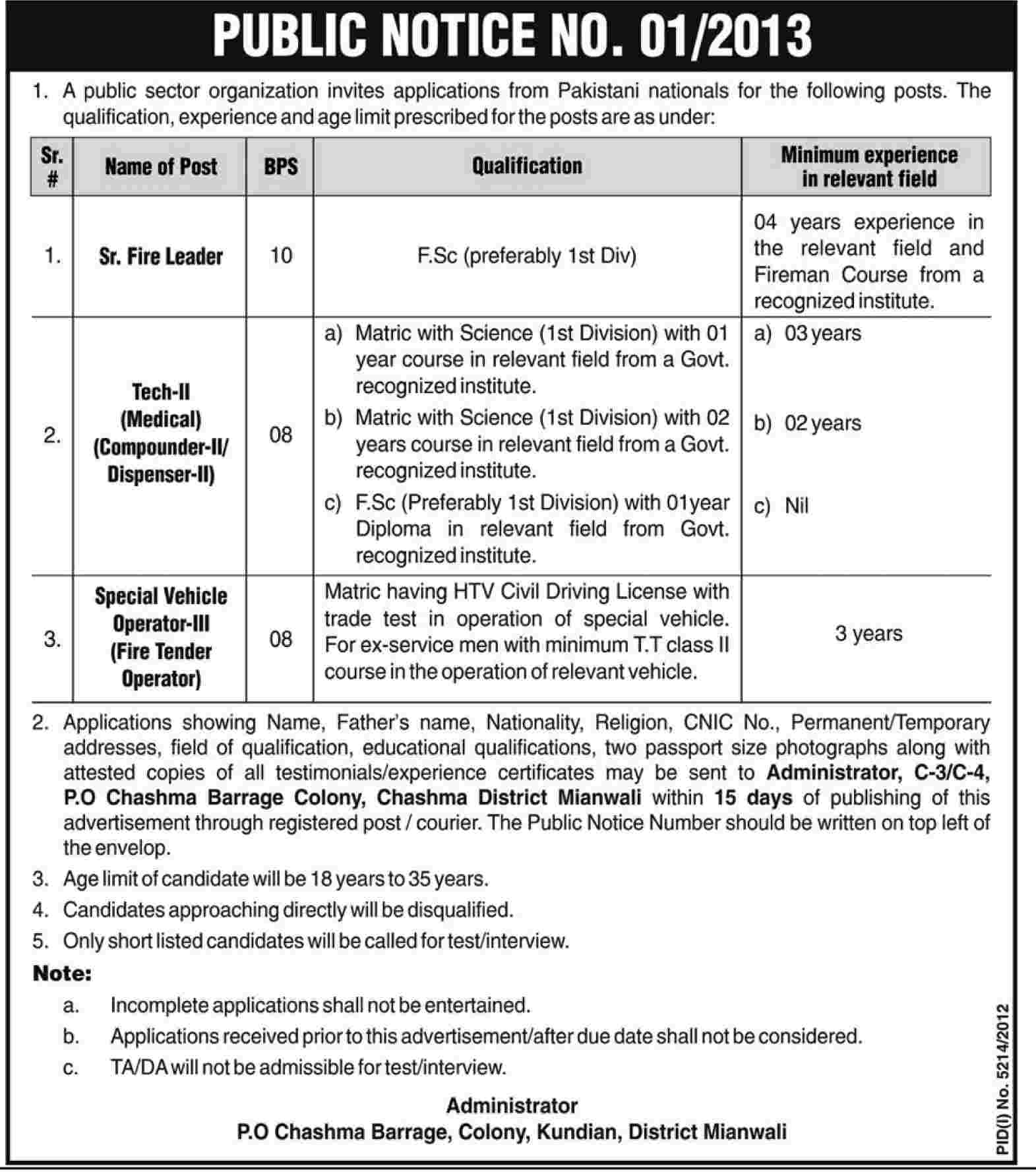 Jobs for Safety Officers & Fireman, Operators in Public Sector organization Mianwali