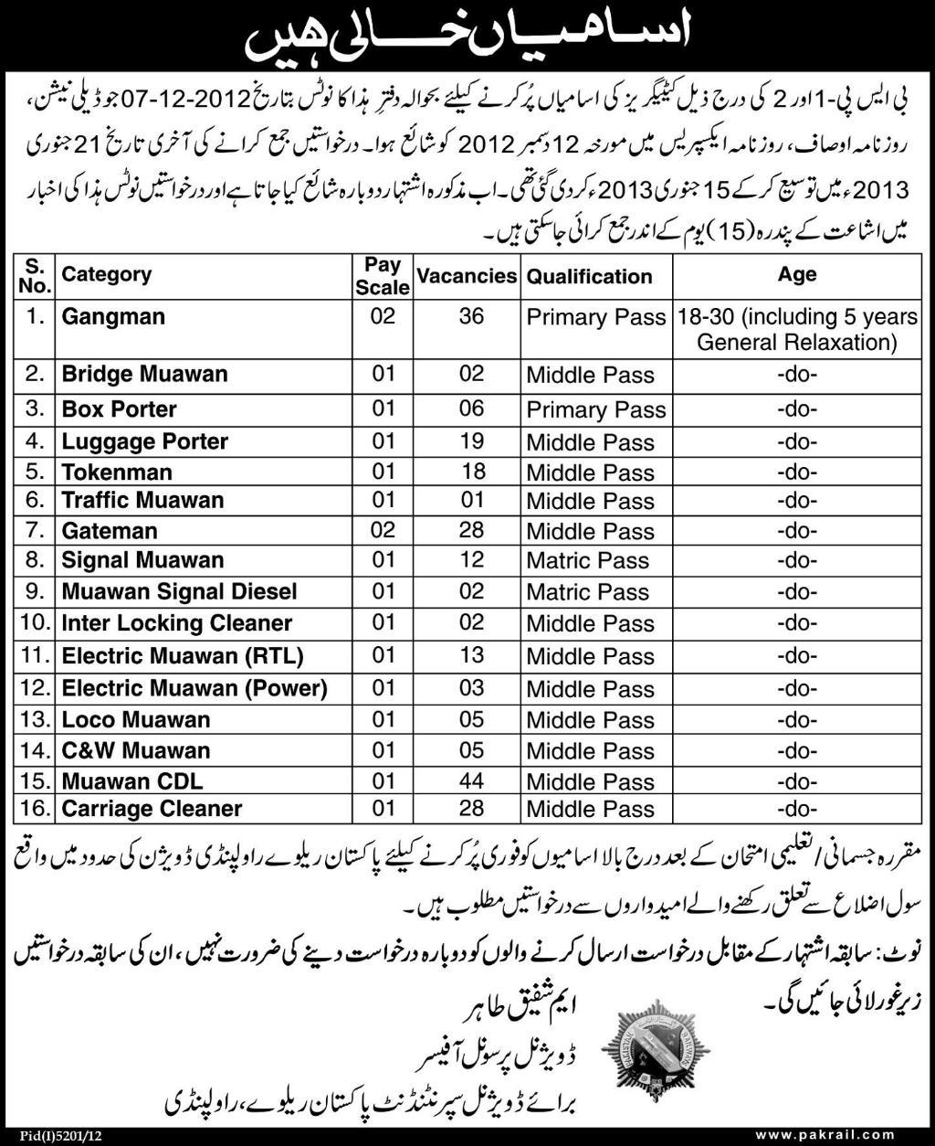 Jobs for Staff Required in Pakistan Railways, Rawalpindi