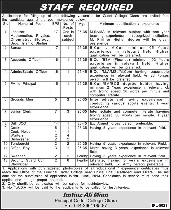 Lecturers & Accountants Jobs Required in Cadet College Okara