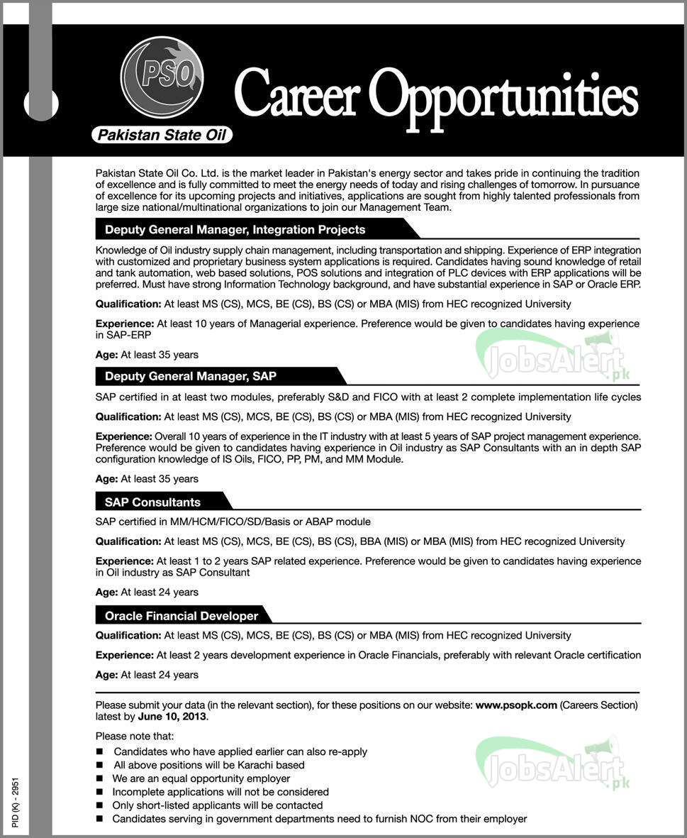 Pakistan State Oil Co. LTD. Jobs for Deputy General Manager Integration Projects