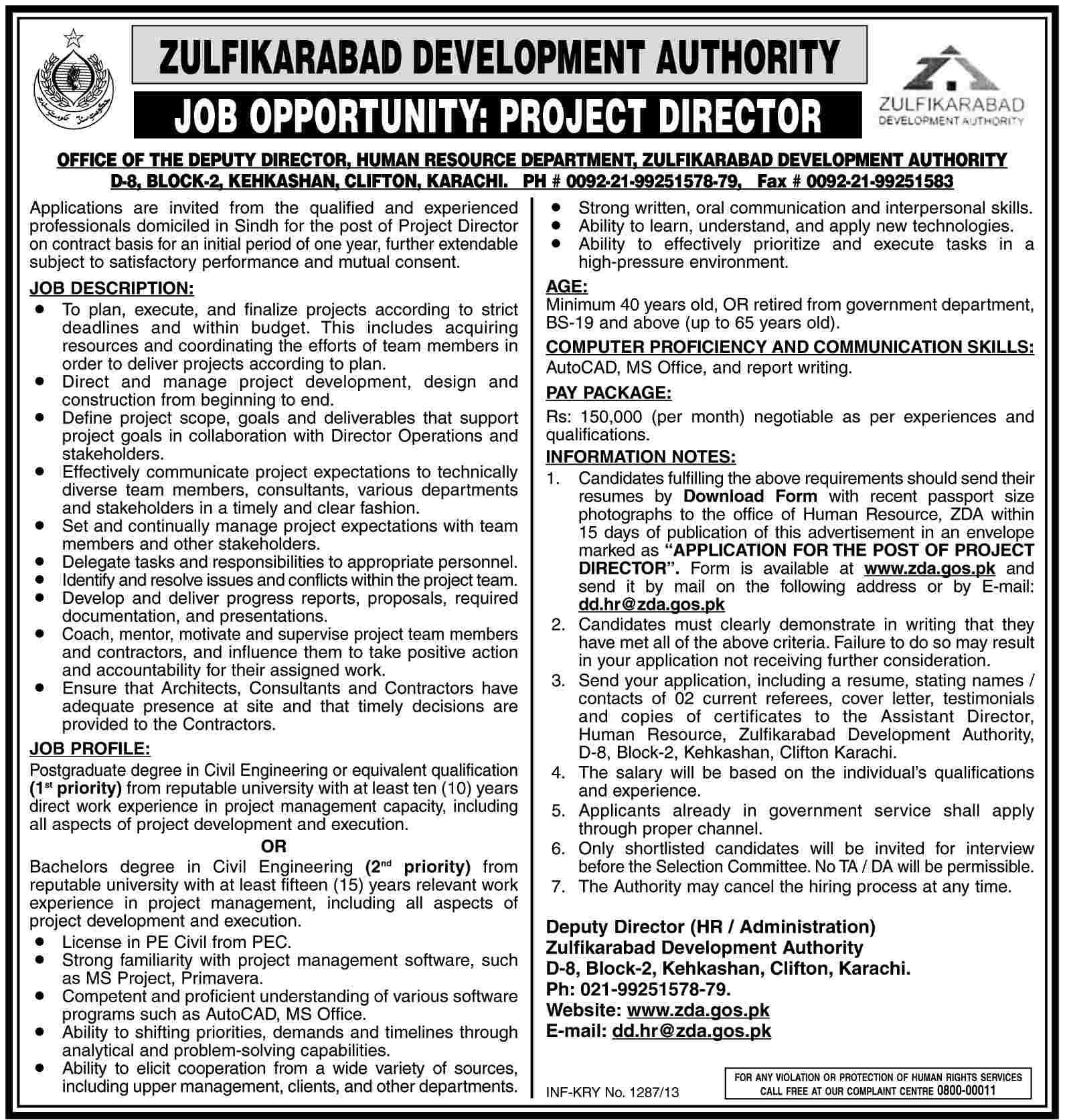 Project Director Required in Zulfikarabad Development Authority Karachi