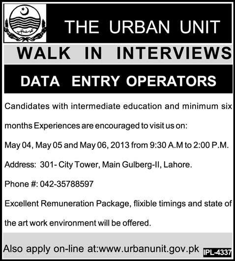 Walk In Inverview for Data Entry Operator in The Urban Unit, Lahore