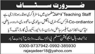 Bright Hall Education System Abbottabad Jobs for Teachers
