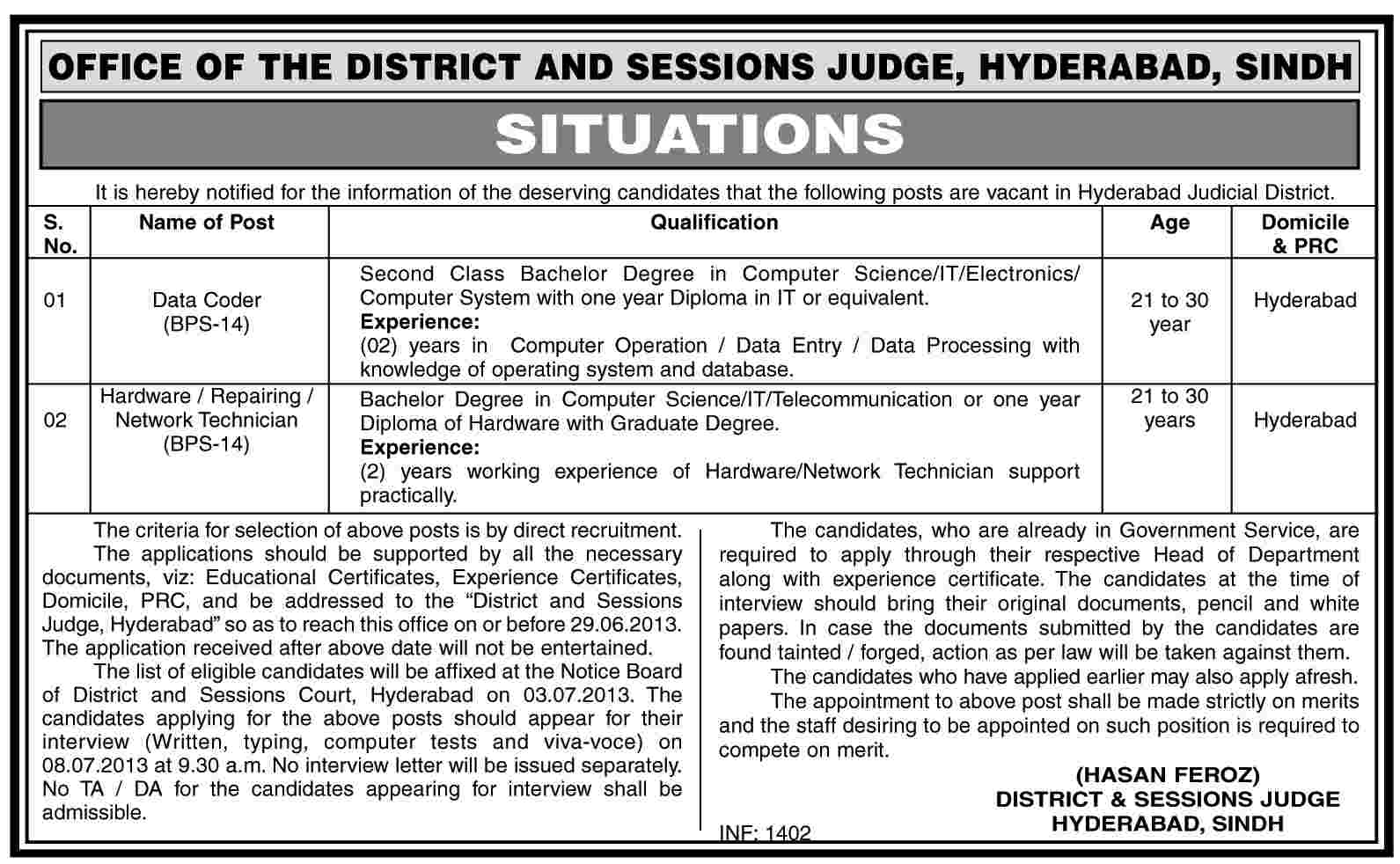District & Session Court Hyderabad Jobs for Data Coder & Hardware