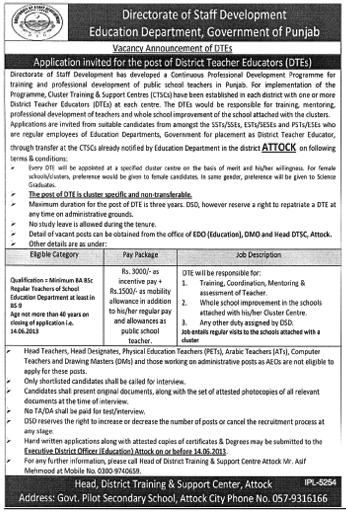 District Teacher Educator Job Required in Attock