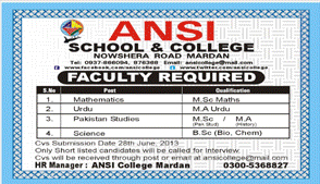Faculty Required in ANSI School Mardan