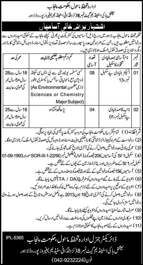 Inspector & Naib Qasid Jobs in Govt. of Punjab, Lahore