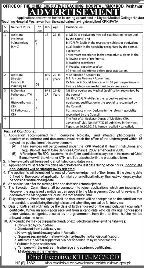 KMC Peshawar Jobs for Professor, Assistant & Director