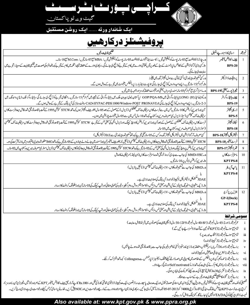 Karachi Port Trust Jobs for Chief Accounts Officer, Project Manager & Engineers