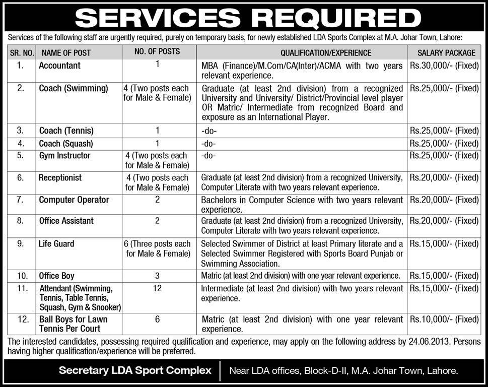 LDA Sports Complex Jobs for Accountant & Coaches Instructors Lahore