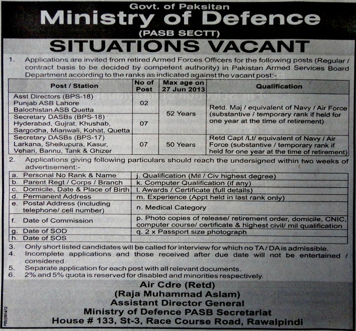Ministry of Defense Rawalpindi Jobs for Assistant Directors & Secretary