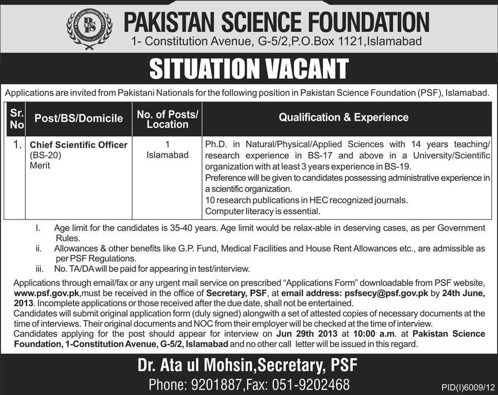Pakistan Science Foundation Islamabad Jobs for Chief Scientific Officer