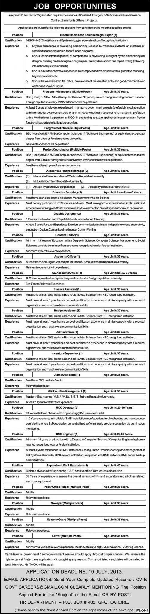 Public Sector Organization Jobs for Bio Statistics, Programme Manager & Graphic Designer