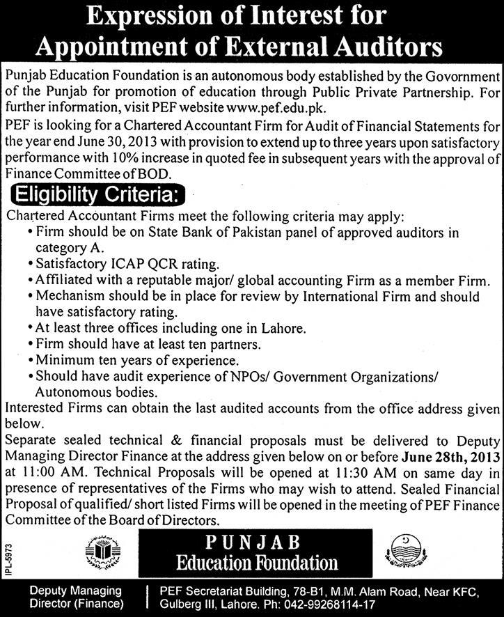 Punjab Educational Foundation Jobs for External Auditor